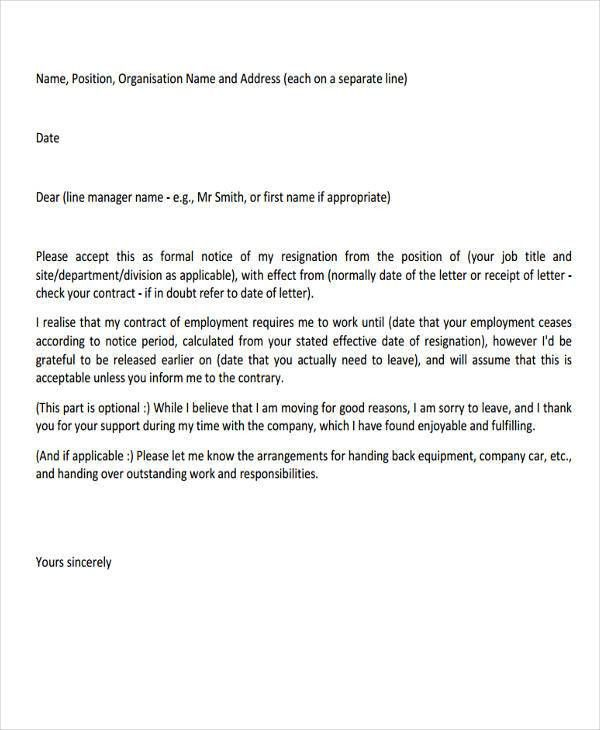 Sample of resignation letter for employee 13 employee resignation 28 resignation letters in pdf free premium templates thecheapjerseys Choice Image