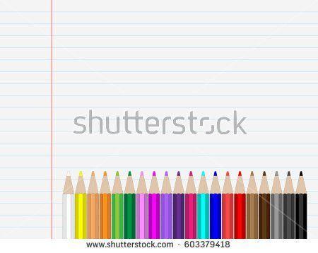 Sheet Paper Colored Pen Linies Stock Vector 603379418 - Shutterstock