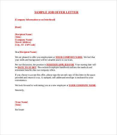 8+ Sample Offer Letters - Free Sample, Example, Format | Free ...