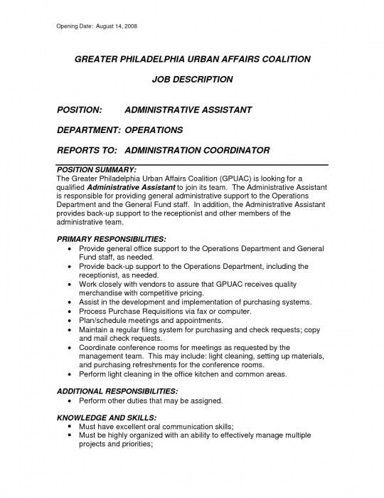 Sample Resume For Administrative Assistant Job. office ...