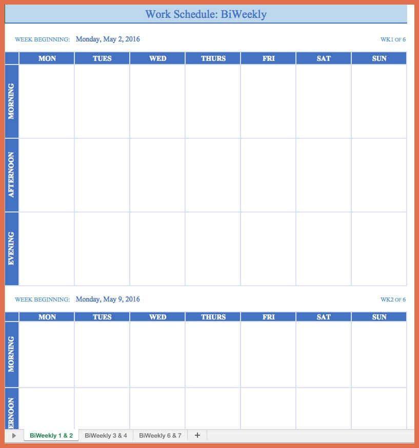 employee work schedule template | bio example