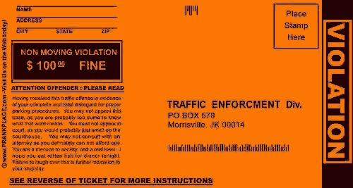 The Pay Back.com   Fake Parking Tickets  Fake Ticket Maker