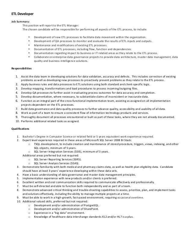 PharmMD ETL Developer Job Description