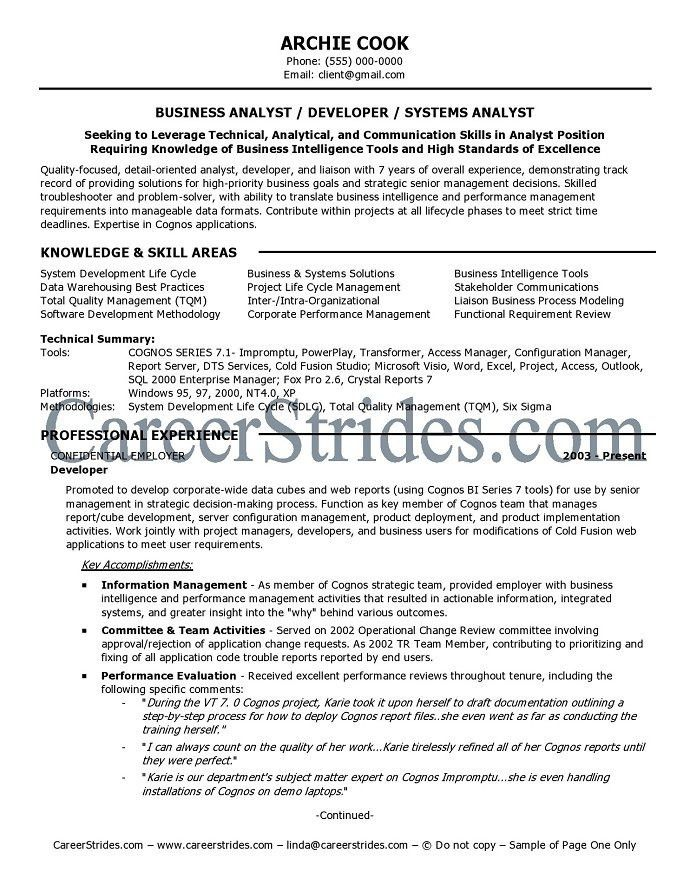 Resume For A Business Analyst | ilivearticles.info