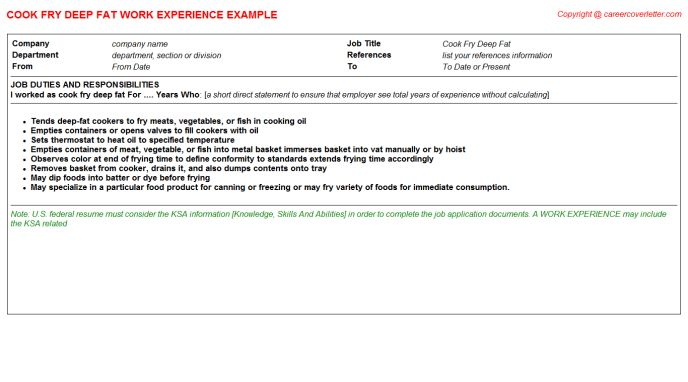 line cook job description sample