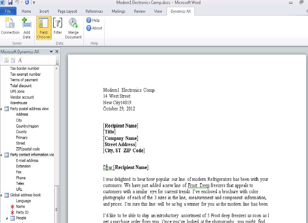 Microsoft Word 2010 Document Template in Dynamics AX 2012 | Nauman ...