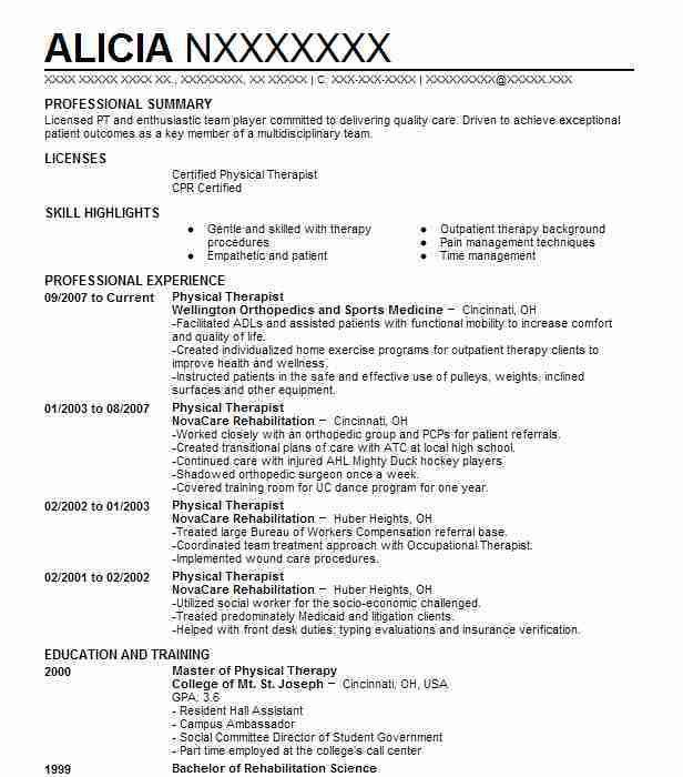 best physical therapist resume example livecareer