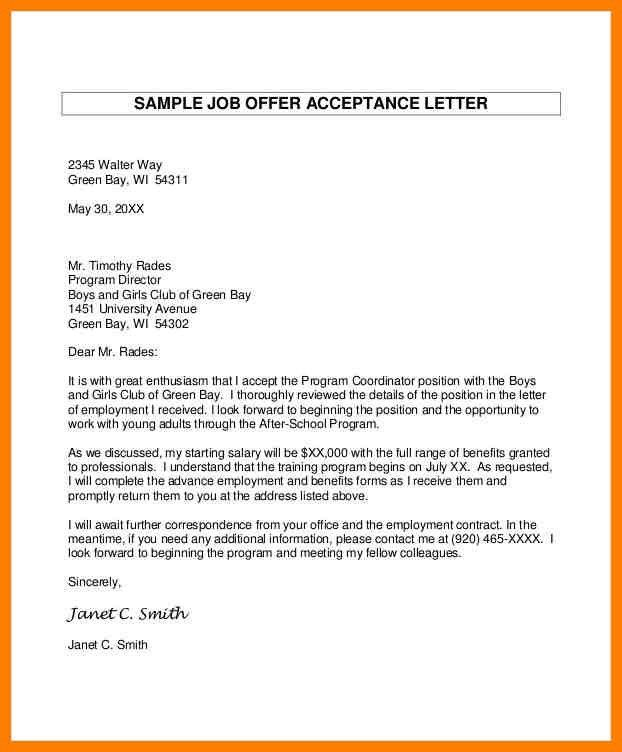 Job Offer Letters. Job Offer Acceptance Letter Crna Cover Letter ...