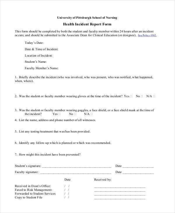 Blank Incident Report Templates - 9+ Free PDF Format Download ...