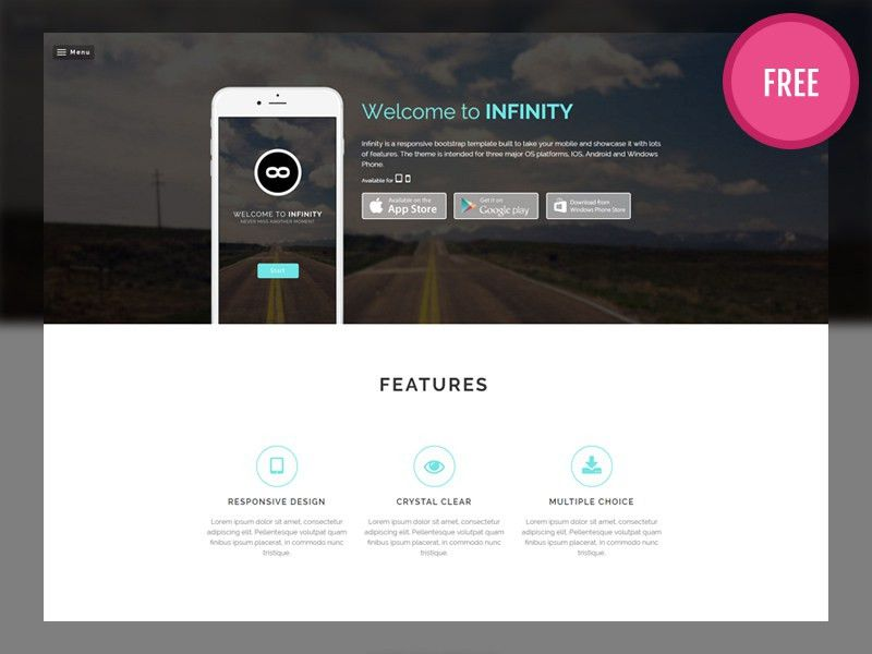 Infinity - Free Bootstrap Mobile App Template by Audain Designs ...