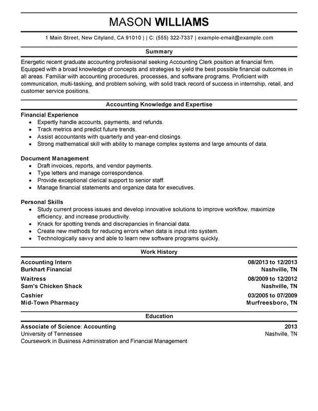 Unforgettable Accounting Clerk SampleResume Examples to Stand Out ...