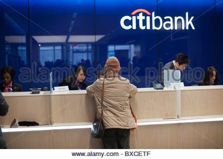 ATM machines in the Citibank new flagship high tech branch in the ...