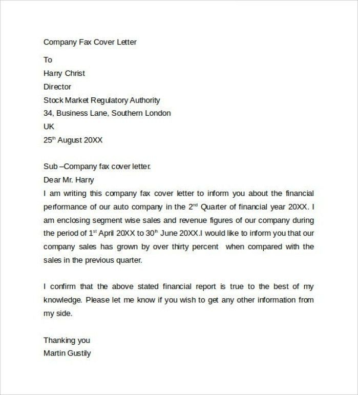 Fax Cover Letter Example