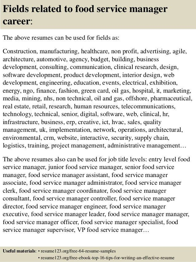 resume sample food service. Resume Example. Resume CV Cover Letter