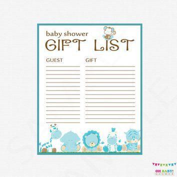 Safari Baby Shower Gift List - Printable from OhBabyShower on