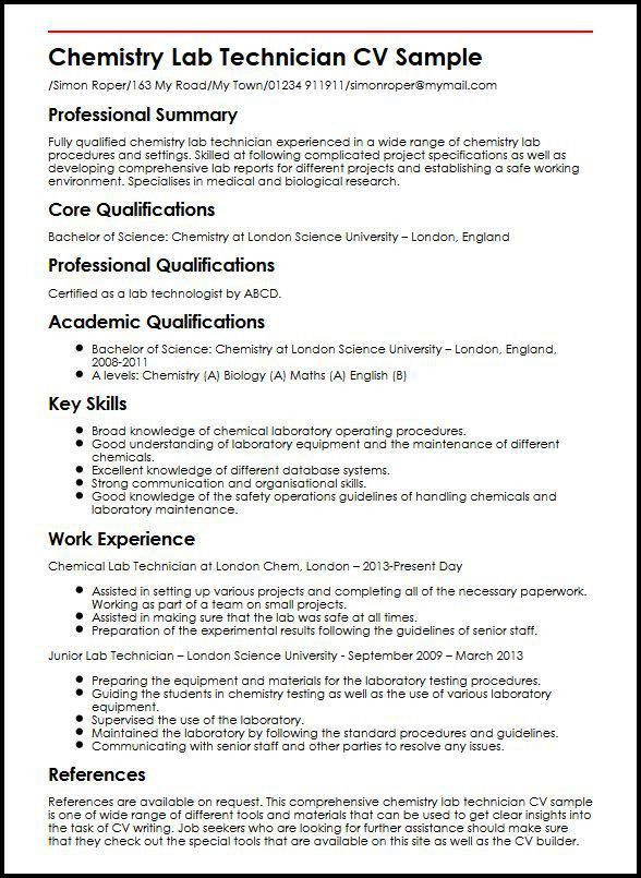 Chemistry Lab Technician CV Sample | MyperfectCV