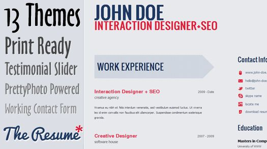 Free Skilled HTML5 CV/Resume Template: The Resume | EGrappler