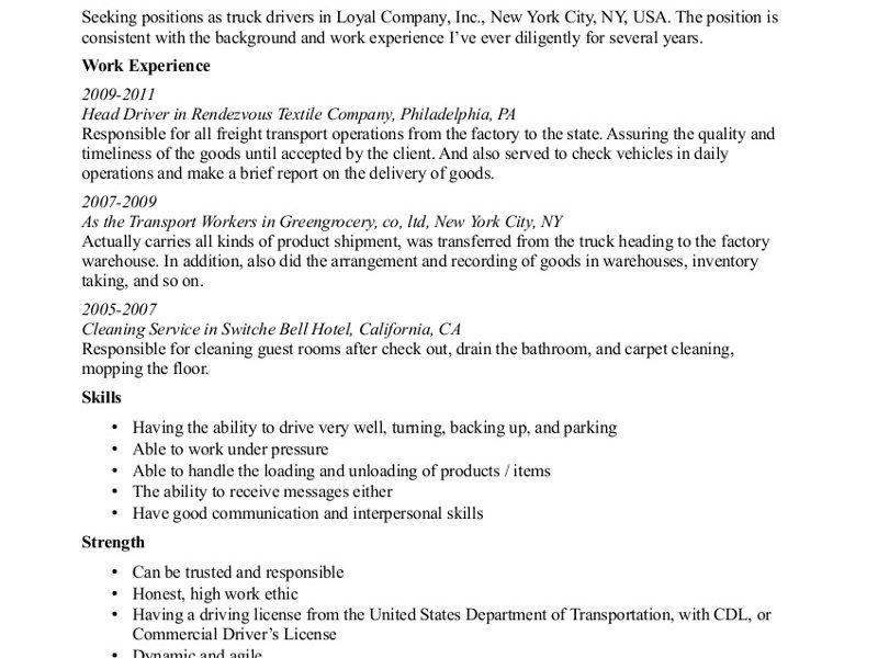 Classy Design Truck Driver Resume Sample 12 Truck Driver Resume ...