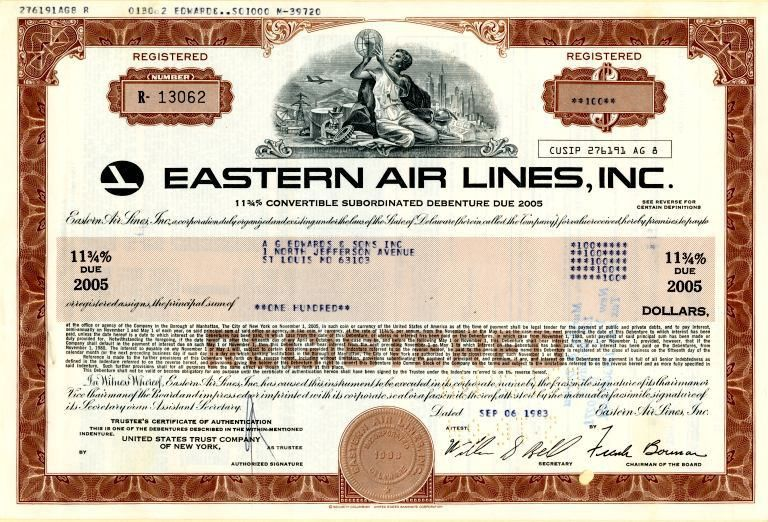 Eastern Air Lines, Inc. High Yield Bond Certificate (Sold by ...