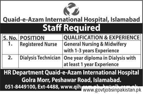 Quaid-e-Azam International Hospital Islamabad Job, Registered ...