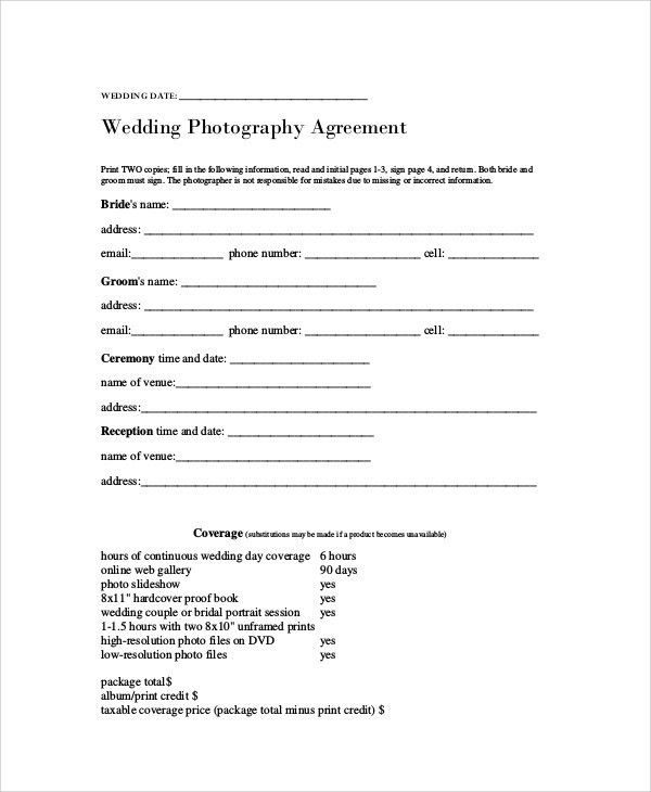 Photography Agreement Contract Sample - 7+ Examples in Word, PDF
