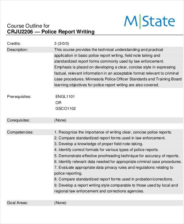 9+ Police Report Templates - Free Sample, Example Format Download ...