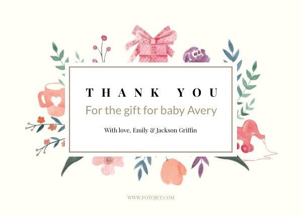 Baby Gift Thank You Card Template Template | FotoJet