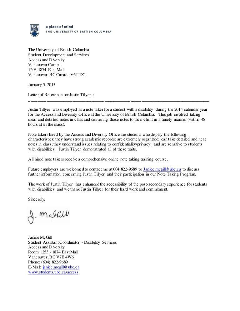 Reference Letter, The University of British Columbia - Justin Tillyer