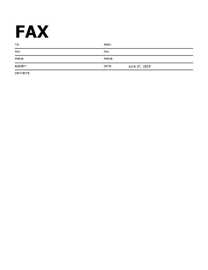 Fax Cover Sheet For Word