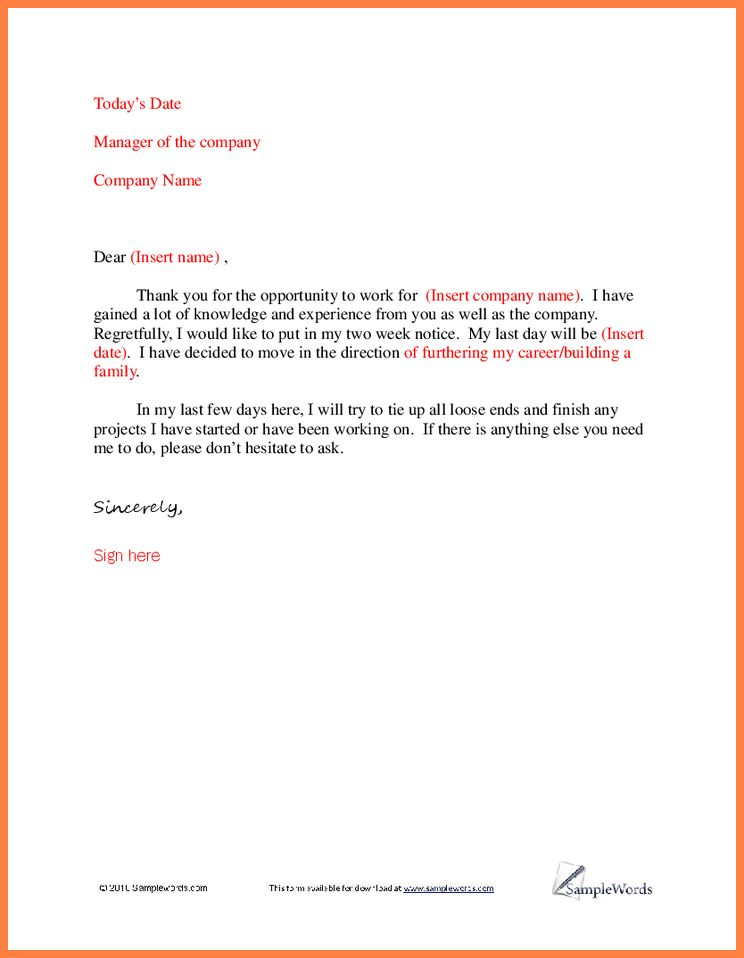 Resignation Letter : Example Resignation Letter Thank You I Would ...