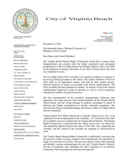 Virginia Beach Human Rights Commission asks school division to ...