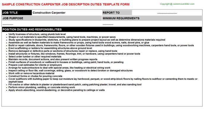 Construction Carpenter Job Description