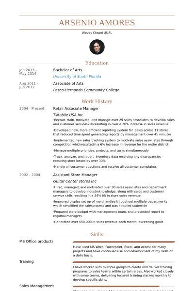Retail Associate Resume samples - VisualCV resume samples database
