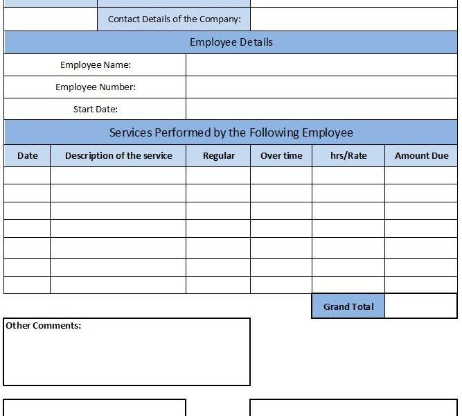 payroll invoice template | Free Invoice