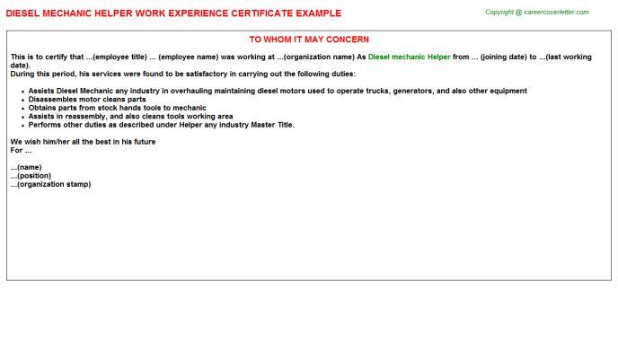 Diesel Mechanic Helper Work Experience Certificate