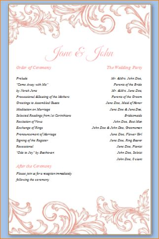 6+ wedding programs templates | Outline Templates