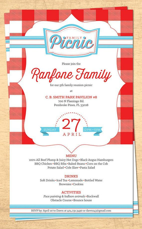 Email Family Reunion Picnic Invitation You will receive a single ...