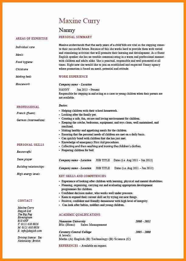 resume for babysitting sample