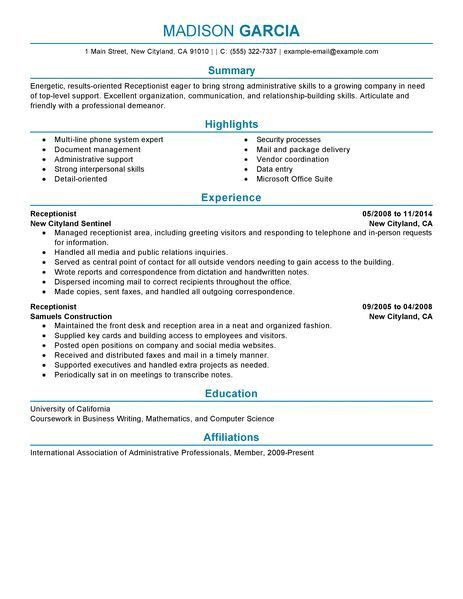receptionist resume sample resume companion. reception resume ...