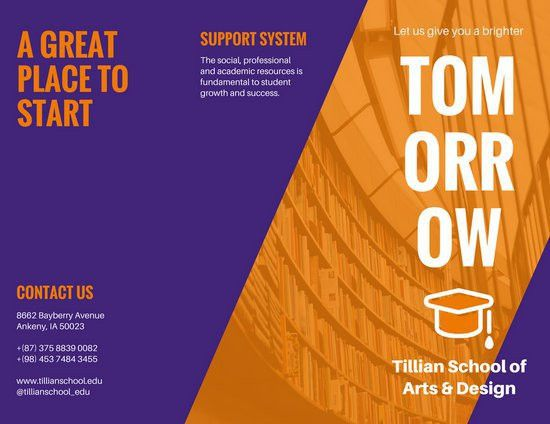 Purple Orange College Trifold Brochure - Templates by Canva