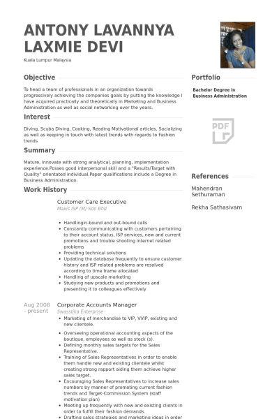 Customer Care Executive Resume samples - VisualCV resume samples ...