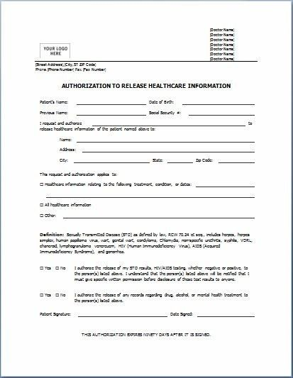 Medical Authorization Release Form. Simple Hipaa Release Form ...