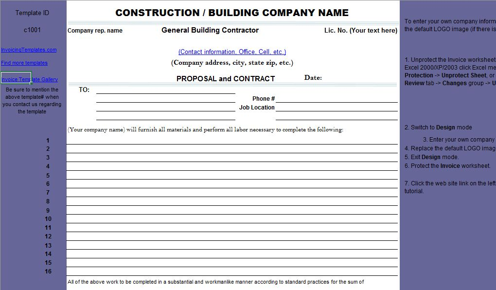 Download Construction Proposal Free invoice Template in Excel ...
