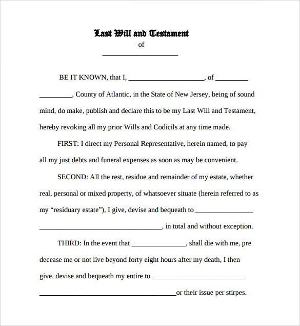 Sample Last Will And Testament Form - 7+ Documents in Word, PDF