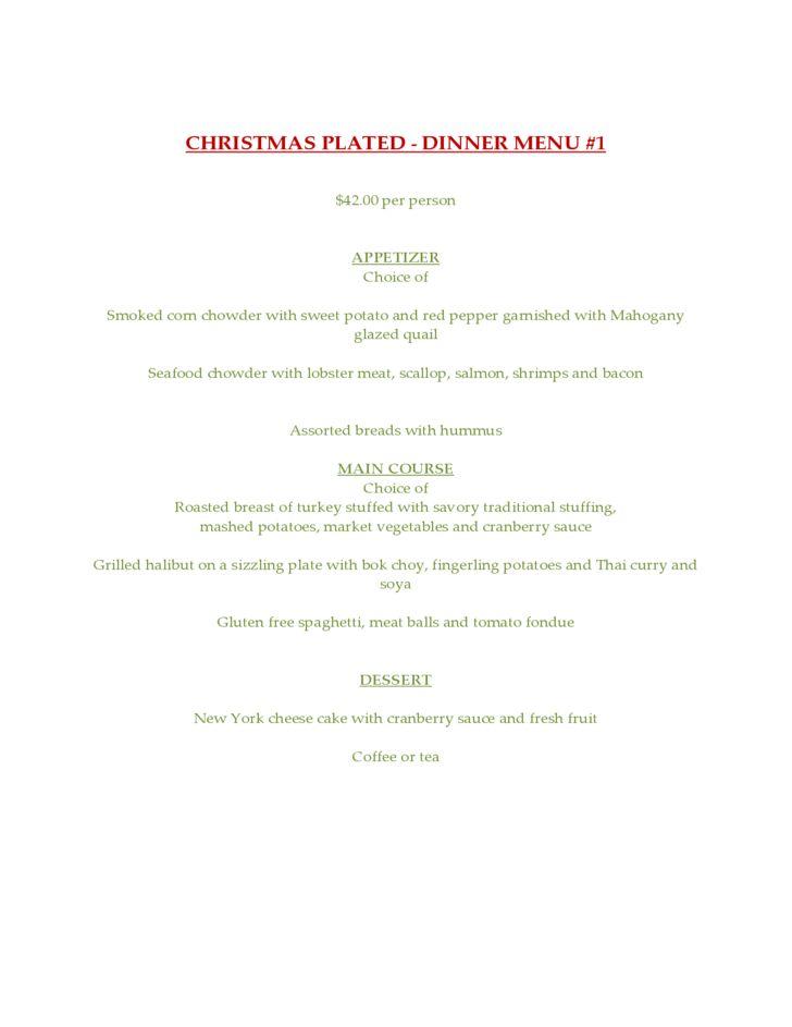 Sample Holiday Party Menu Free Download