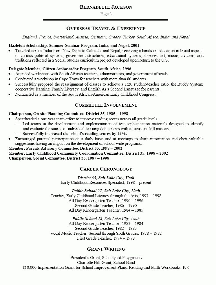 Early Childhood Education Resume 19 Preschool Teacher Resume ...