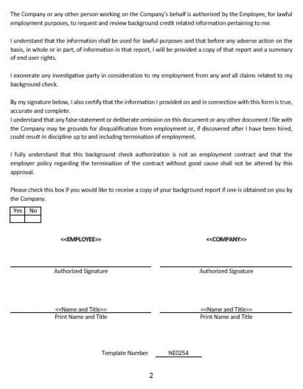 NE0254 DISCLOSURE AND AUTHORIZATION FORM FOR EMPLOYMENT RELATED ...