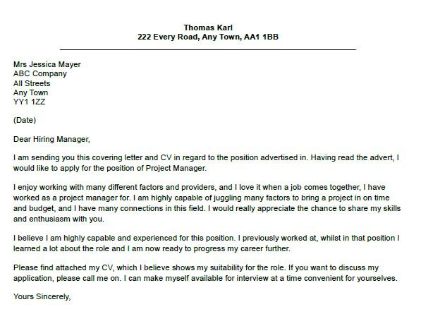 Project Manager Cover Letter Example - lettercv.com
