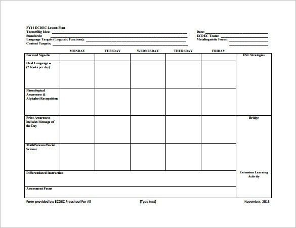8+ Lesson Plan Templates – Free Sample, Example, Format Download ...