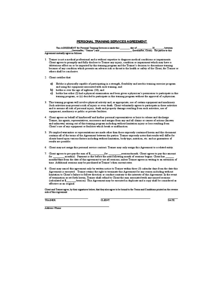 Personal Training Service Agreement Free Download